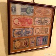 Lotes de Billetes: CUADRO DE 9 BILLETES ANTIGUOS EXTRANJEROS Y ESPAÑOLES. Lote 182564625