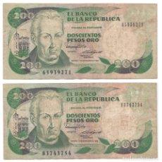 Lotes de Billetes: LOTE DOS BILLETES DE 200 PESOS ORO COLOMBIA 1989.. Lote 182912421