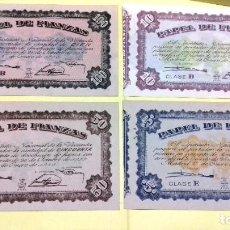 Lotes de Billetes: PAPEL DE FIANZAS, SERIE 4 VALORES 100 - 50 - 10 - 5 PESETAS. 1940 INSTITUTO NACIONAL DE LA VIVIENDA. Lote 189406593
