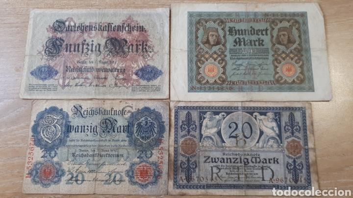 4 BILLETES ALEMANIA ENTRE 1910 Y 1920 USADOS VER ESTADO EN FOTOGRAFIAS (Numismática - Notafilia - Series y Lotes)