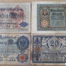 Lotes de Billetes: 4 BILLETES ALEMANIA ENTRE 1910 Y 1920 USADOS VER ESTADO EN FOTOGRAFIAS. Lote 199819282