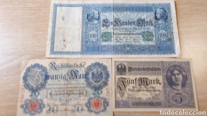 3 BILLETES DE ALEMANIA USADOS ENTRE 1910 Y 1917 VER ESTADO EN FOTOGRAFIAS (Numismática - Notafilia - Series y Lotes)