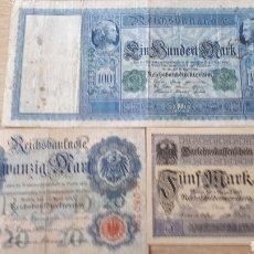 Lotes de Billetes: 3 BILLETES DE ALEMANIA USADOS ENTRE 1910 Y 1917 VER ESTADO EN FOTOGRAFIAS. Lote 199819781