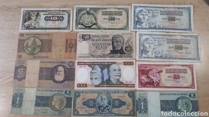 12 BILLETES MUY USADOS DE BRASIL YOGOSLAVIA Y ARGENTINA H02 (Numismática - Notafilia - Series y Lotes)
