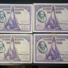 Lotes de Billetes: LOTE 4 BILLETES 100 PESETAS 1928 SIN SERIE. Lote 204592227