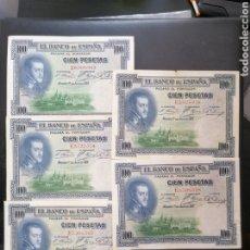 Lotes de Billetes: LOTE 5 BILLETES 100 PESETAS 1925 SERIE E MBC, MBC+. Lote 204604312