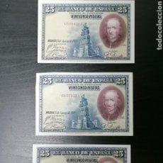 Lotes de Billetes: LOTE BILLETES 25 PESETAS DE 1928 SERIE CALFONSO XIII EBC, MBC. Lote 204620782