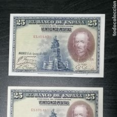 Lotes de Billetes: LOTE 2 BILLETES 25 PESETAS DE 1928 SERIE E ALFONSO XIII EBC MBC. Lote 204620928