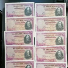 Lotes de Billetes: LOTE 10 BILLETE 50 PESETAS DE 1928 SERIE B ALFONSO XIII MBC, EBC. Lote 204636493