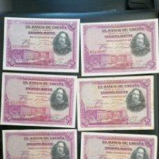 Lotes de Billetes: LOTE 6 BILLETES 50 PESETAS DE 1928 SERIE C ALFONSO XIII MBC, EBC. Lote 204636566