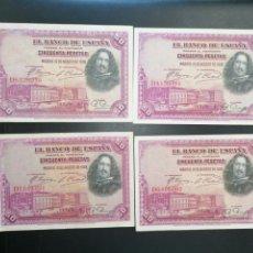 Lotes de Billetes: LOTE 4 BILLETES 50 PESETAS DE 1928 SERIE D ALFONSO XIII MBC, EBC. Lote 204636648