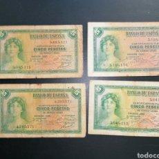 Lotes de Billetes: LOTE 4 BILLETES 5 PESETAS DE 1935 SIN SERIE ALFONSO XIII MBC. Lote 204638341
