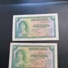 Lotes de Billetes: LOTE 2 BILLETES 5 PESETAS DE 1935 SERIE B ALFONSO XIII MBC. Lote 204638583