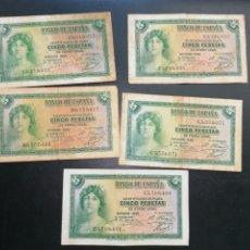 Lotes de Billetes: LOTE 6 BILLETES 5 PESETAS DE 1935 SERIE CALFONSO XIII MBC BC. Lote 204638671