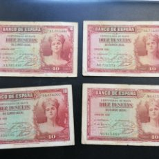 Lotes de Billetes: ESPAÑA LOTE 4 BILLETES 10 PESETAS 1935 ALFONSO XIII SERIE A EBC, MBC. Lote 204977443