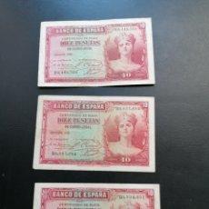 Lotes de Billetes: ESPAÑA LOTE 3 BILLETES 10 PESETAS 1935 ALFONSO XIII SERIE B EBC, MBC. Lote 204977575