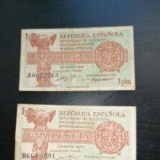 Lotes de Billetes: ESPAÑA LOTE 2 BILLETES 1 PESETA. 1937 REPÚBLICA SERIE A, B MBC +. Lote 204977825