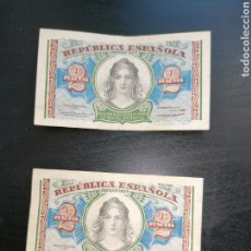 Lotes de Billetes: ESPAÑA LOTE 2 BILLETES 2 PESETAS 1938 REPÚBLICA SERIE B MBC. Lote 204978570
