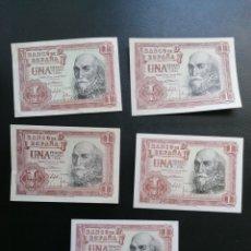 Lotes de Billetes: LOTE 5 BILLETES CORRELATIVOS 1 PESETA 1953 SIN CIRCULAR SC-, SC+. Lote 204983247