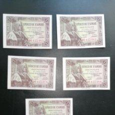 Lotes de Billetes: ESPAÑA LOTE 5 BILLETES 1 PESETA 1945 TODOS SC SERIE D CORRELATIVOS. Lote 205339080