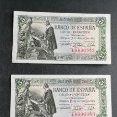 Lotes de Billetes: ESPAÑA LOTE 2 BILLETES 5 PESETAS 1945 CORRELATIVOS LUJO SC+, SC- ENVIO GRATIS. Lote 205342472