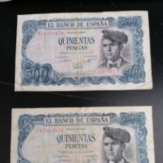 Lotes de Billetes: LOTE 2 BILLETES 500 PESETAS 1971 BC -. Lote 206528593