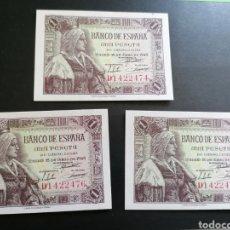 Lotes de Billetes: LOTE 3 BILLETES 1 PESETA 1945 SIN CIRCULAR LUJO NUMERACIÓN CORRELATIVA. Lote 206537991