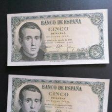 Lotes de Billetes: LOTE 2 BILLETES 5 PESETAS 1951 SIN CIRCULAR SC- CORRELATIVOS. Lote 206539200
