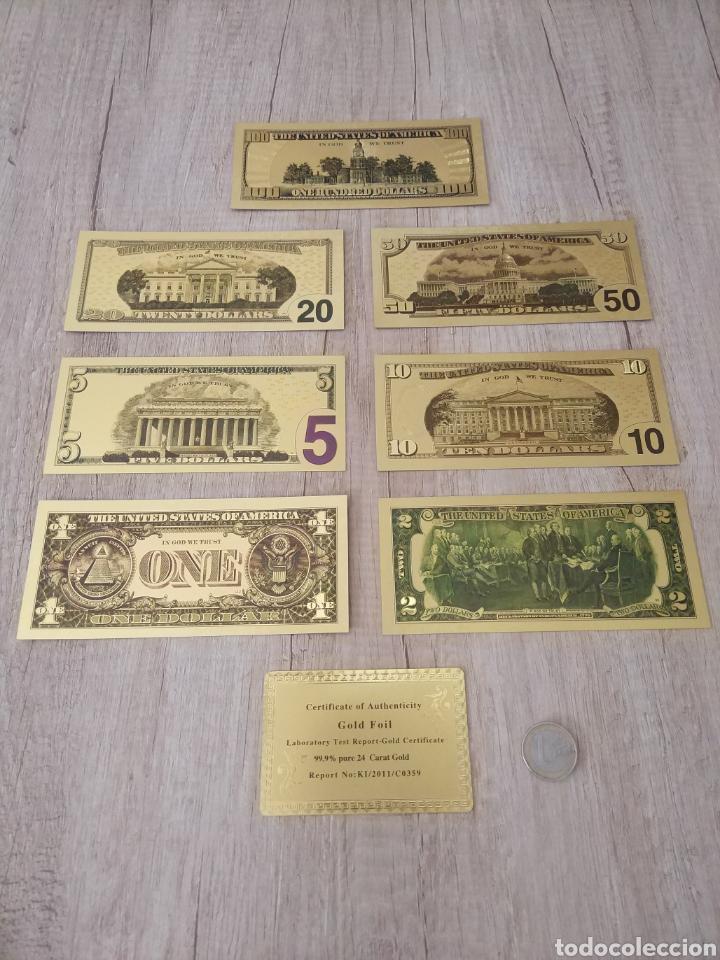 Lotes de Billetes: Lote Colección DÓLARES en ORO puro 99,9% 24. con Certificado de Autenticidad - Foto 6 - 207195960