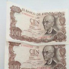 Lotes de Notas: 100 PESETAS DE 1970 TRÍO CORRELATIVO. Lote 207398057