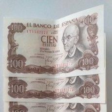Lotes de Notas: 100 PESETAS DE 1970 QUINTENTO CORRELATIVO. Lote 207404965