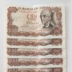 Lotes de Notas: 100 PESETAS DE 1970 BILLETES CORRELATIVOS. Lote 207417501