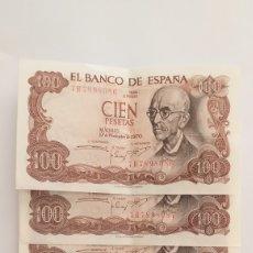 Lotes de Notas: 100 PESETAS DE 1970 QUINTETO CORRELATIVO. Lote 209044428
