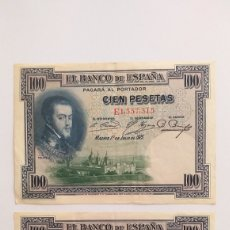 Lotes de Billetes: 100 PESETAS DE 1925 PAREJA CORRELATIVA. Lote 211471046