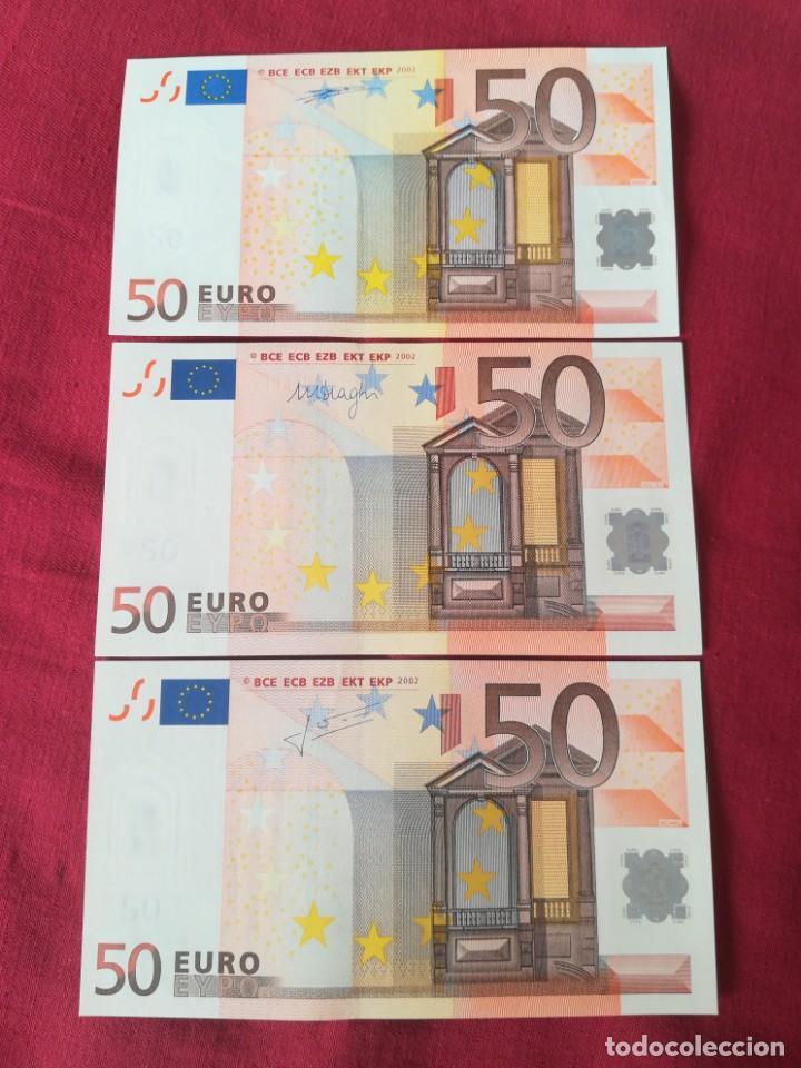 SET BILLETES 50 EURO 2002 LETRA V ESPAÑA, TRES FIRMAS DIFERENTES DUISENBERG, TRICHERT, DRAGI (Numismática - Notafilia - Series y Lotes)
