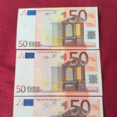Lotes de Billetes: SET BILLETES 50 EURO 2002 LETRA V ESPAÑA, TRES FIRMAS DIFERENTES DUISENBERG, TRICHERT, DRAGI. Lote 211484525