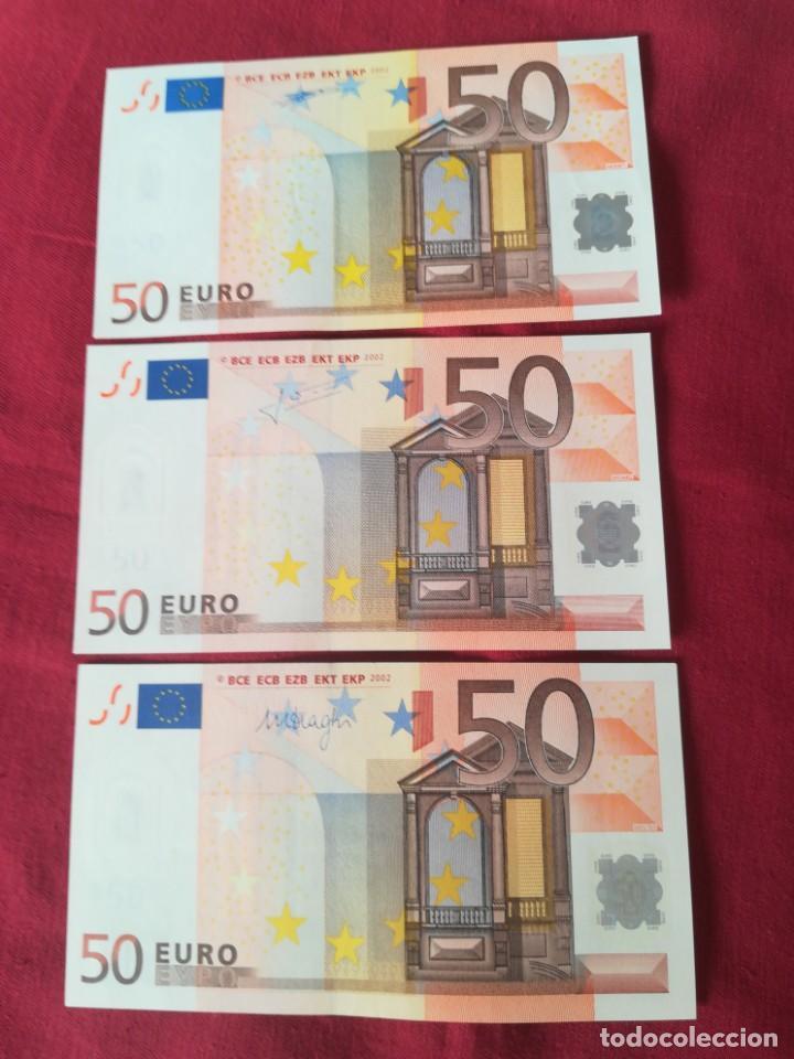 Lotes de Billetes: Set billetes 50 euro 2002 letra V España, tres firmas diferentes DUISENBERG, TRICHERT, DRAGI - Foto 7 - 211484525