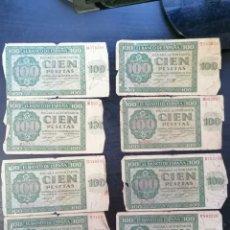 Lotes de Billetes: LOTE 8 BILLETES BANCO DE BURGOS 100 PESETAS 1936 PARA RESTAURAR. Lote 269358328