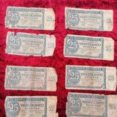 Lotes de Billetes: LOTE 10 BILLETES 25 PESETAS 1936 ESTÁN PARA RESTAURAR. Lote 269357678