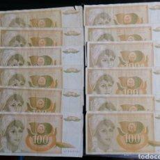 Lotes de Billetes: YUGOSLAVIA LOTE 12 BILLETES 100 DINARS 1990. Lote 215016722