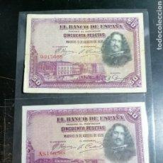 Lotes de Billetes: ESPAÑA 2 BILLETES 50 PESETAS SERIE A Y SIN SERIE. Lote 215017951