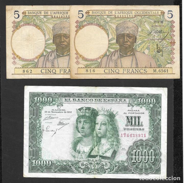 Lotes de Billetes: 6 BILLETES 5-1000 FRANCOS 1000 PESETAS MBC/MBC+ - Foto 2 - 219095703