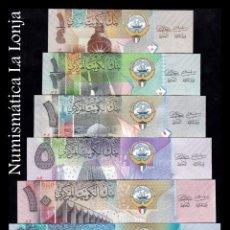 Lotes de Billetes: KUWAIT SET 1/4 1/2 1 5 10 20 DINARS 2014 PICK 29 30 31 32 33 34 SC UNC. Lote 234537775