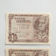 Lotes de Billetes: 1 PESETA DE 1948 PAREJA CORRELATIVA. Lote 219641995