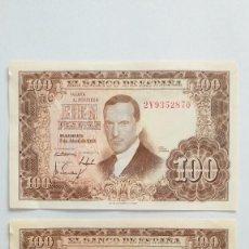Lotes de Billetes: 100 PESETAS DE 1953 PAREJA CORRELATIVA. Lote 219745695