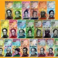 Lotes de Billetes: VENEZUELA FULL SET 21 PCS BOLIVARES Y SOBERANO 2007 - 2018 UNC. Lote 221728413