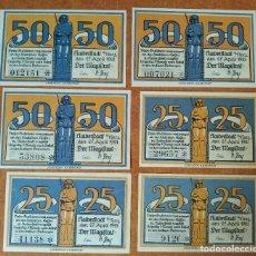 Lotes de Billetes: ALEMANIA. 6 BILLETES NOTGELD STADT HALBERSTADT (SERIE COMPLETA). SIN CIRCULAR!!!!. Lote 222282053