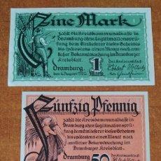 Lotes de Billetes: ALEMANIA. 3 BILLETES NOTGELD STADT DRAMBURG (SERIE COMPLETA). SIN CIRCULAR!!!. Lote 222283418