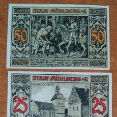 Lotes de Billetes: ALEMANIA. 3 BILLETES NOTGELD STADT MÜHLBERG (SERIE COMPLETA). SIN CIRCULAR!!!. Lote 222283907