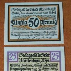 Lotes de Billetes: ALEMANIA. 3 BILLETES NOTGELD STADT MARIENBURG (SERIE COMPLETA). SIN CIRCULAR!!!. Lote 222284733